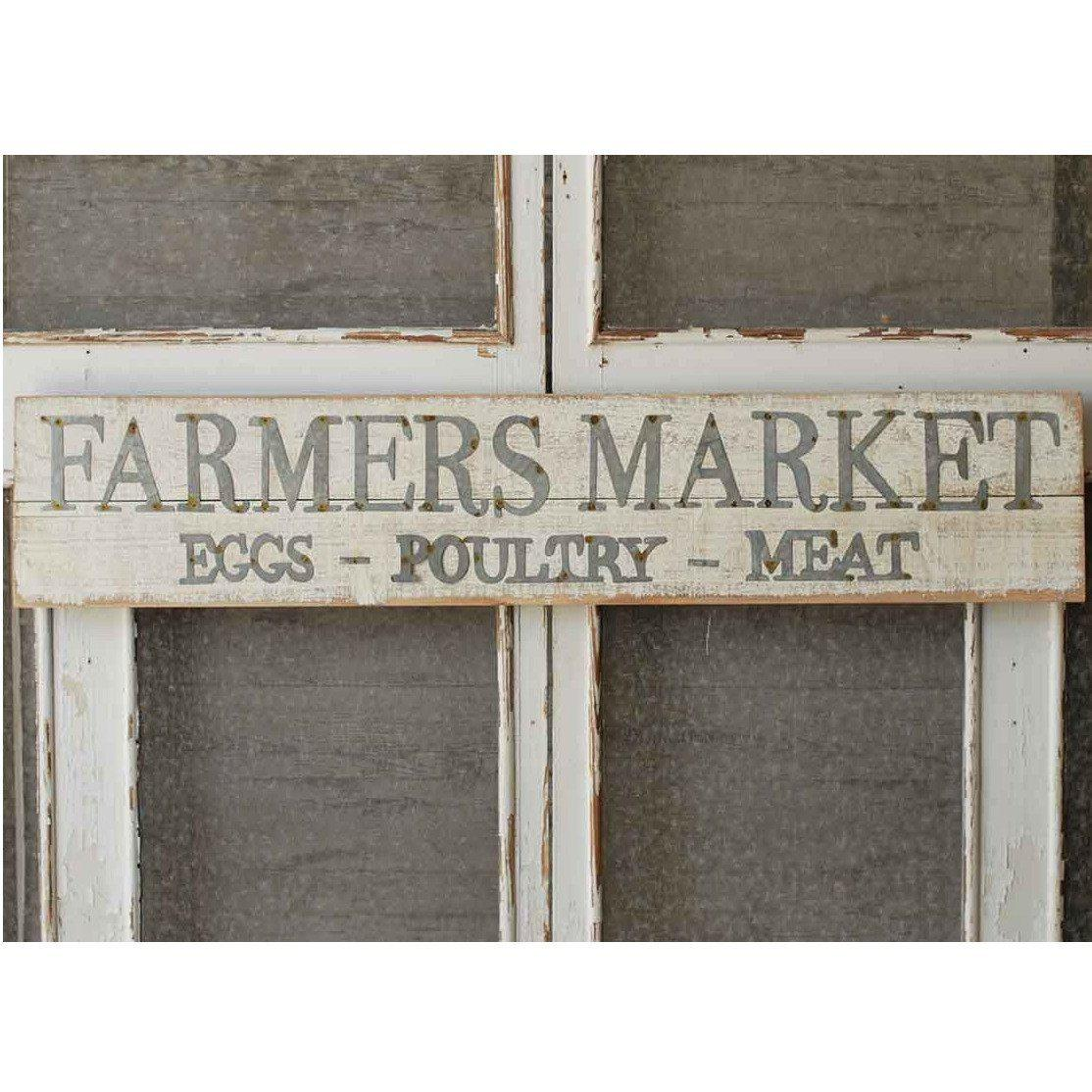 White Wood Farmers Market Sign-Decor-Vintage Floral Imports-A Cottage in the City