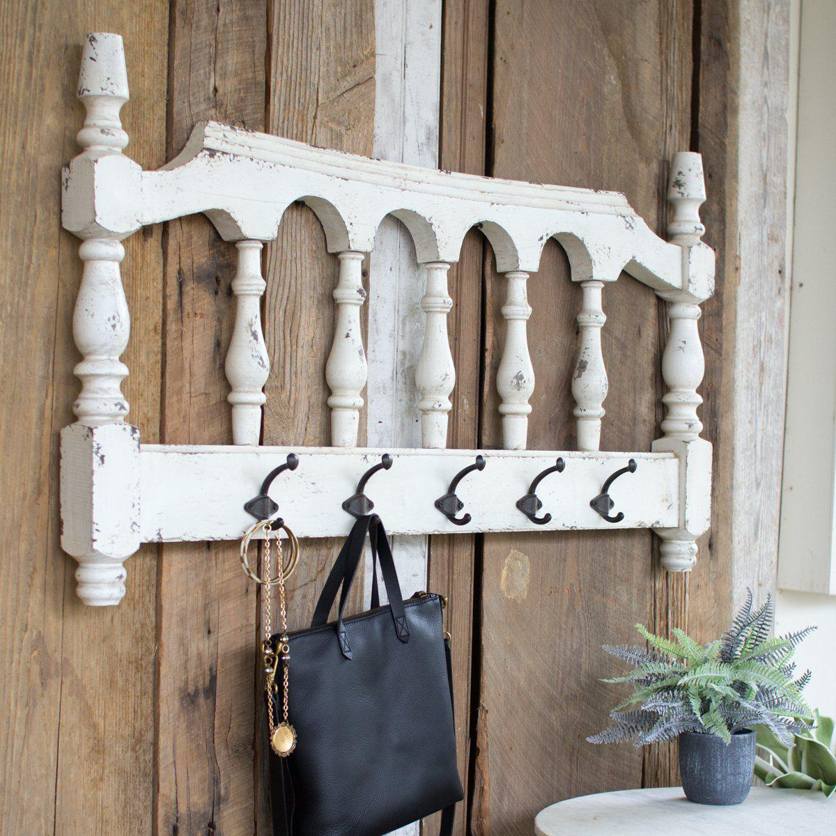 White Wood Railing With Hooks-Decor-A Cottage in the City