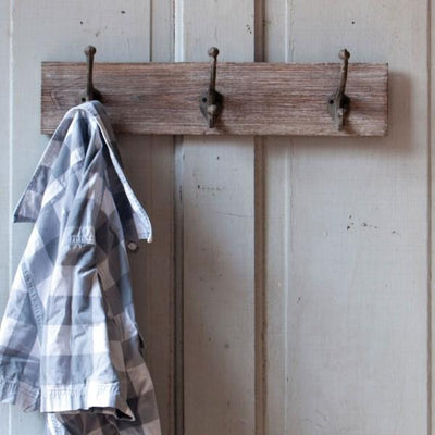 Wood Coat Rack With Metal Hooks Small