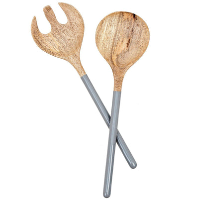 Wood & Enamel Two Piece Serving Set