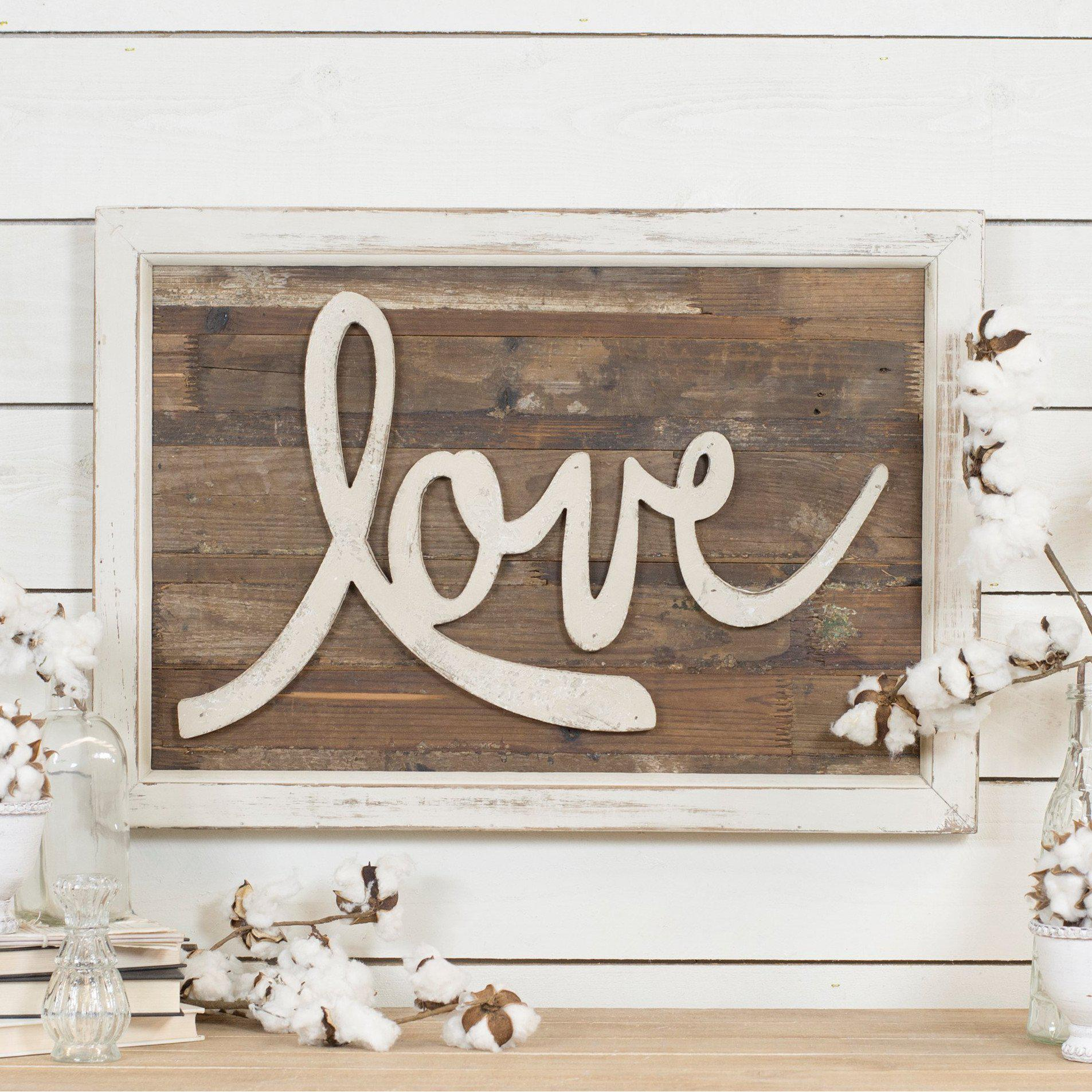 Wood Love Script Sign