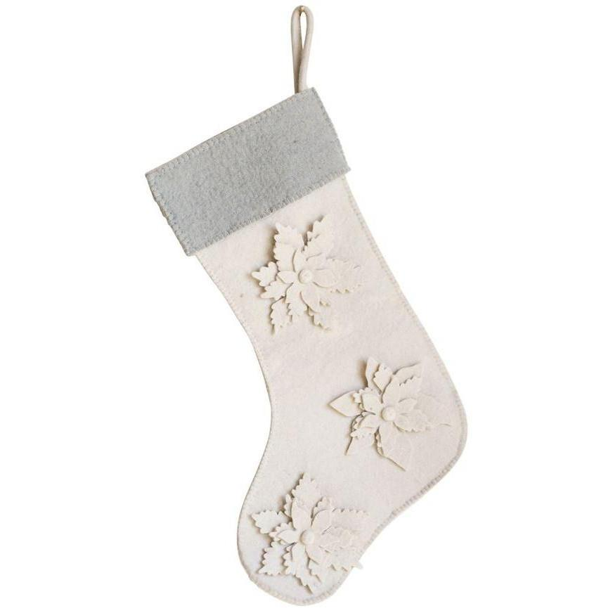 Wool Felt Holiday Florals Stocking