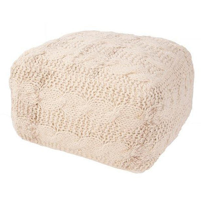 Wool Knit Square Cream Ottoman Pouf