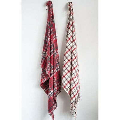 Woven Plaid Throw With Fringe