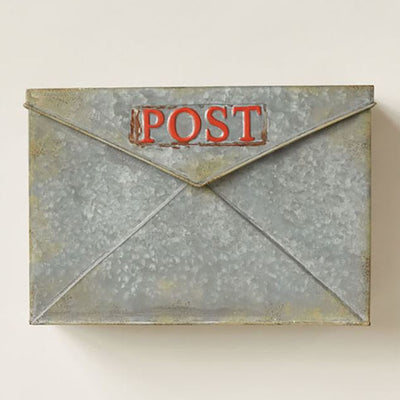 Galvanized Metal Red Post Mail Box