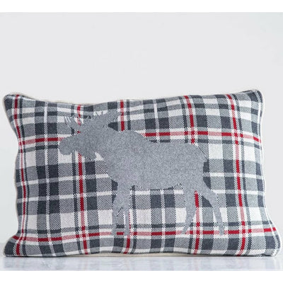 Cotton Knit Plaid Moose Pillow