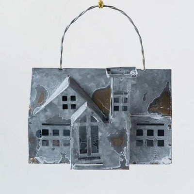 Galvanized Metal House Tea Light Holder