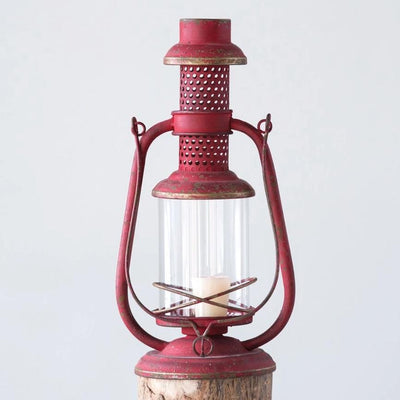Rustic Red Metal Lantern