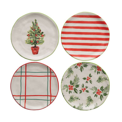 Stoneware Holiday Plate Set