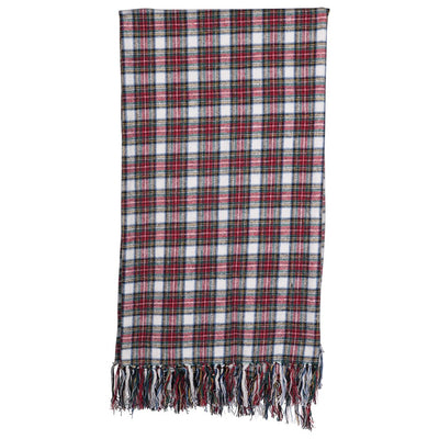Tartan Plaid Throw With Fringe