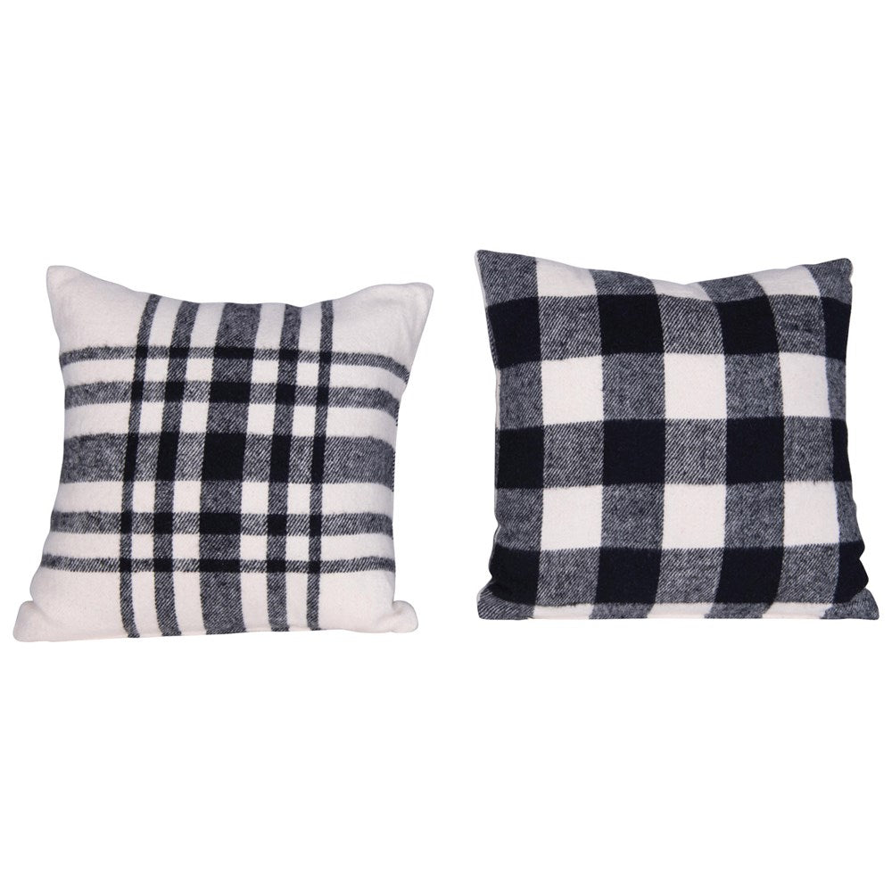 Brushed Cotton Black & White Plaid Pillow-Seasonal-A Cottage in the City