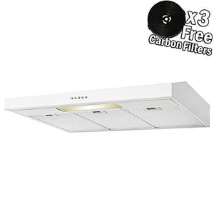 "AKDY 36"" Under Cabinet White Stainless Steel Push Panel Kitchen Range Hood Cooking Fan w/Carbon Filters"