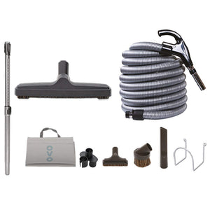 OVO KIT-LV40D-OVO Central Vacuum Hardwood Cleaning Tools Attachment Kit Tile Hard Surfaces-Switch Control Crushproof Hose and Deluxe 12'' Floor Brush, 40ft, Black and grey