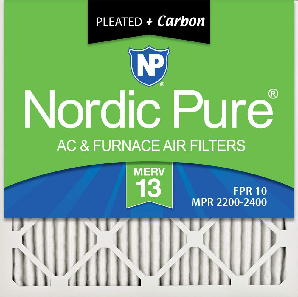 Nordic Pure 14x14x1 MERV 13 Plus Carbon Pleated AC Furnace Air Filters, 6 Pack, 6 PACK, 6 PACK