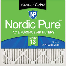 Load image into Gallery viewer, Nordic Pure 16x16x1 MERV 13 Plus Carbon Pleated AC Furnace Air Filters, 16x16x1M13+C -6, 6 Pack