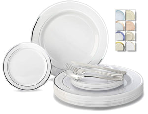 """ OCCASIONS"" 600 Pcs Set / 120 Guest Wedding Disposable Plastic Plate and Silverware Combo Set, (White/Silver Rim plates, Silver silverware)"