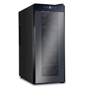 Ivation 12 Bottle Thermoelectric Red And White Wine Cooler/Chiller Counter Top Wine Cellar with Digital Temperature Display, Freestanding Refrigerator Smoked Glass Door Quiet Operation Fridge,Black