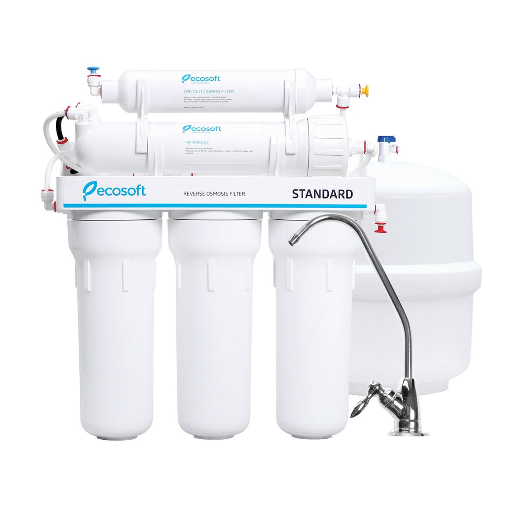 Ecosoft 5 Stage Reverse Osmosis Water Filtration System and Under Sink RO Drinking Water Softener Filter in White, European Membrane with Classic Faucet