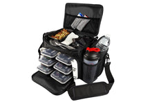 Load image into Gallery viewer, Meal Prep Insulated Lunch Bag - Isobag 6 Meal Thin Blue Line - 4 Fully Insulated Compartment Meal Management System - Includes 12 Reusable BPA-Free Iso Containers, 3 Ice Packs & Padded Shoulder Strap