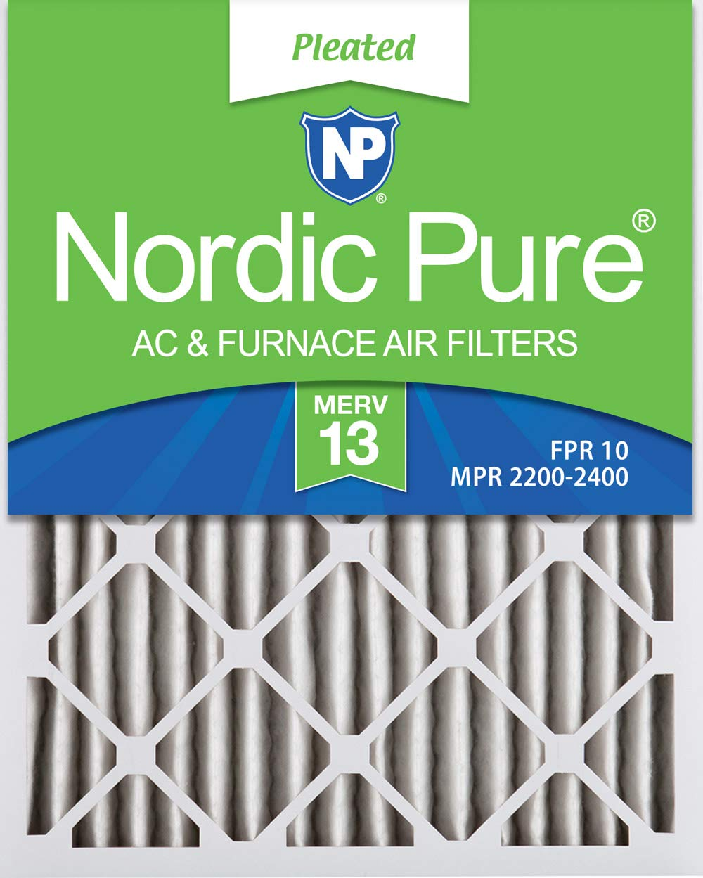 Nordic Pure 16x24x2 MERV 13 Pleated AC Furnace Air Filters 3 Pack, 3 PACK, 3 PACK