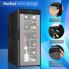 Load image into Gallery viewer, NutriChef PKTEWC120 Nutrichef 12 Bottle Thermoelectric Wine Cooler Refrigerator | Red, White, Champagne Chiller | Counter Top Wine Cellar | Quiet Operation Fridge | Touch Temperature Control