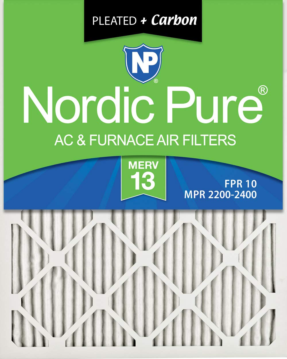 Nordic Pure 18x24x1M13+C-6 MERV 13 Plus Carbon AC Furnace Air Filters, Qty-6
