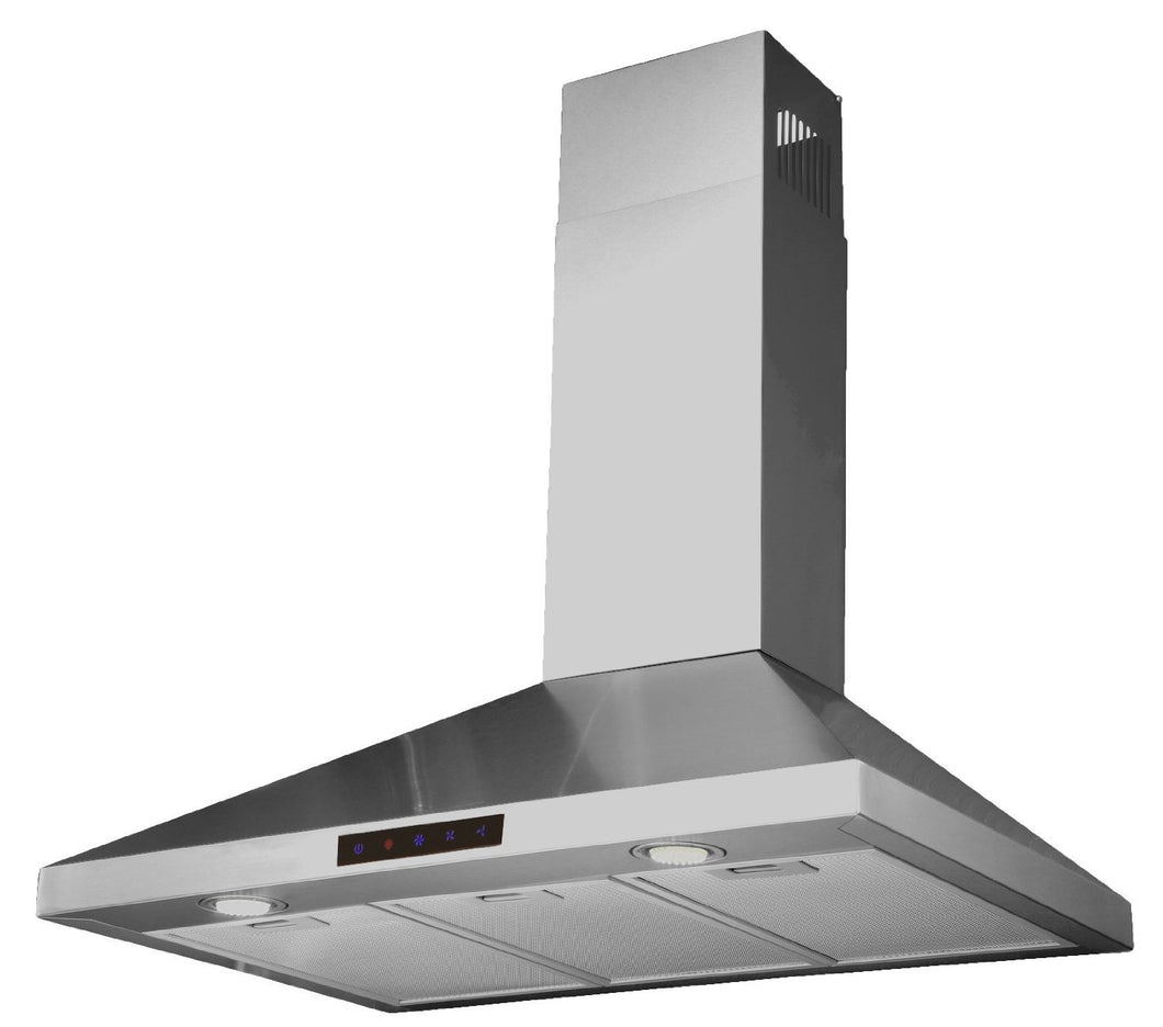 Kitchen Bath Collection 36-inch Wall-mounted Stainless Steel Range Hood with Touch Screen, Charcoal Carbon Filters for Vent-less Operation. High-end LED Lights Over 3x Brighter Than Competing Models