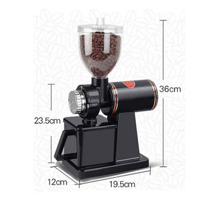 TOPCHANCES 220W Automatic Electric Burr Coffee Grinder Mill Grinder Coffee Bean Powder Grinding Machine 8 Speeds 120g/min -110V (Black)