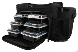 Meal Prep Insulated Lunch Bag - Isobag 6 Meal Thin Blue Line - 4 Fully Insulated Compartment Meal Management System - Includes 12 Reusable BPA-Free Iso Containers, 3 Ice Packs & Padded Shoulder Strap
