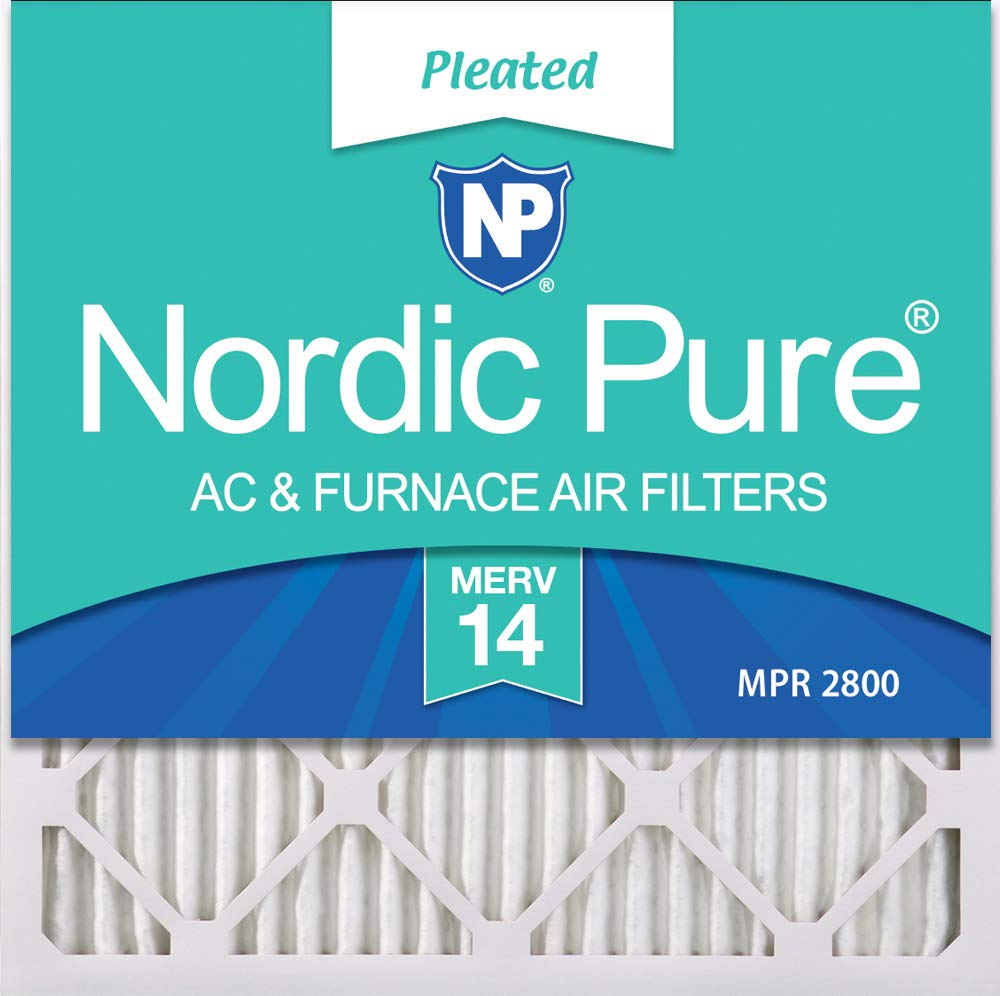 Nordic Pure 24x24x1 MERV 14 Pleated AC Furnace Air Filters, 24x24x1M14-6, 6 Pack
