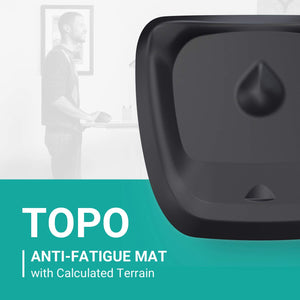 Topo Comfort Mat by Ergodriven | The Not-Flat Standing Desk Anti-Fatigue Mat with Calculated Terrain | Standing Desk Mat | Comfortable Standing Mat | Office Mat | Desk Accessories | Obsidian Black