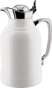 alfi Opal Glass Vacuum Lacquered Chrome Plated Brass Thermal Carafe for Hot and Cold Beverages, 1.0 L, White