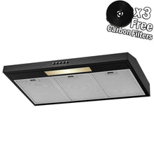 Load image into Gallery viewer, AKDY Under Cabinet Kitchen Range Hood Cooking Fan with Push Panel - Lighting Bar - Carbon Filters (36 in, Black Painted Stainless Steel)