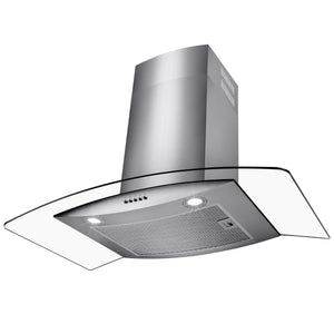 "Perfetto Kitchen and Bath 30"" Wall Mount Stainless Steel Tempered Glass Push Panel Kitchen Range Hood Cooking Fan"