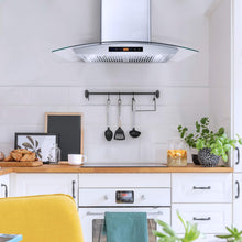 Load image into Gallery viewer, Cosmo COS-668AS750 Wall Mount Range Hood 380 CFM, Ductless Convertible Duct, Glass Chimney Over Stove Vent with Light, 3 Speed Exhaust, Fan Timer & Permanent Filter, 30, Stainless Steel