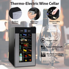 Load image into Gallery viewer, NutriChef PKTEWCDS1802 18 Bottle Dual Zone Thermoelectric Wine Cooler - Red and White Wine Chiller - Countertop Wine Cellar - Freestanding Refrigerator with LCD Display Digital Touch Controls