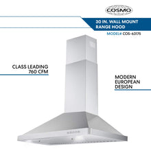 Load image into Gallery viewer, Cosmo 63175 30-in Wall-Mount Range Hood 760-CFM Ductless Convertible Duct Kitchen Chimney-Style Over Stove Vent LED Light, 3 Speed Exhaust Fan, Permanent Filter, (Stainless Steel)