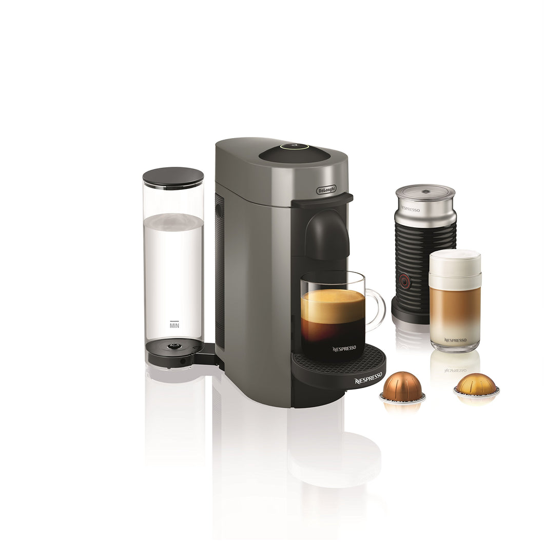Nespresso by De'Longhi ENV150GYAE VertuoPlus Coffee and Espresso Machine Bundle with Aeroccino Milk Frother by De'Longhi, 5.6 x 16.2 x 12.8 inches, Graphite Metal