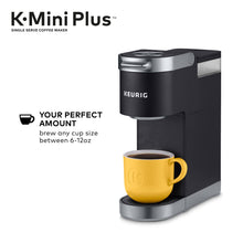 Load image into Gallery viewer, Keurig K-Mini Plus Coffee Maker, Single Serve K-Cup Pod Coffee Brewer, Comes With 6 to 12 oz. Brew Size, K-Cup Pod Storage, and Travel Mug Friendly, Black