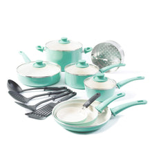 Load image into Gallery viewer, GreenLife Soft Grip 16pc Ceramic Non-Stick Cookware Set, Turquoise - CC001007-001
