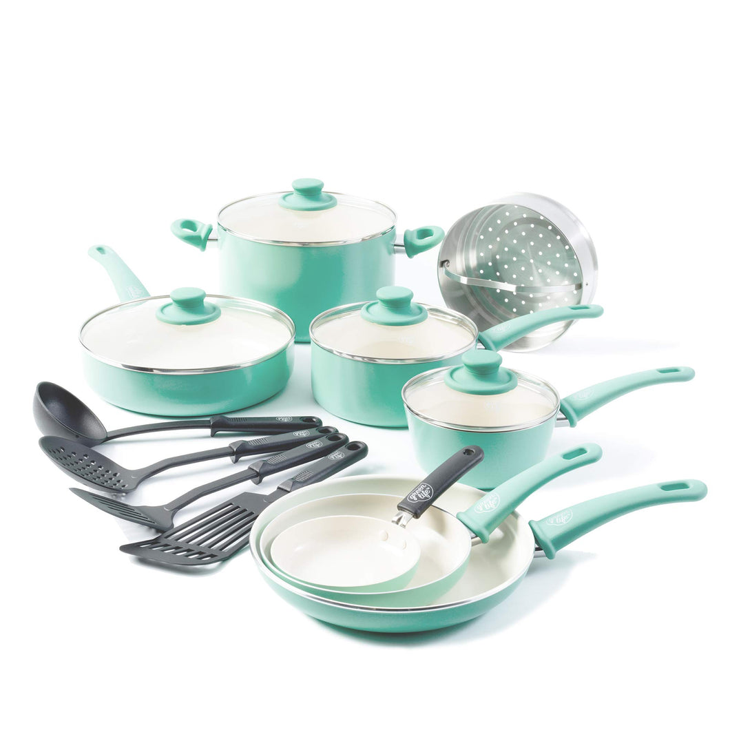 GreenLife Soft Grip 16pc Ceramic Non-Stick Cookware Set, Turquoise - CC001007-001