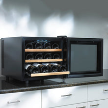 Load image into Gallery viewer, Wine Enthusiast 272 03 12W Silent 12 Bottle Touchscreen Wine Cooler with Wood Shelves, Black