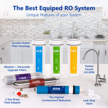 Load image into Gallery viewer, Express Water Alkaline Ultraviolet Reverse Osmosis Water Filtration System - 11 Stage RO UV Mineralizing Alkaline Purifier with Faucet and Tank - Under Sink Filter Mineral, pH + Antioxidant - 100 GDP