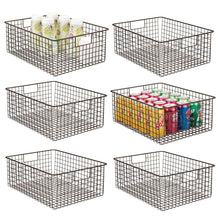 Load image into Gallery viewer, mDesign Farmhouse Decor Metal Wire Food Organizer Storage Bin Baskets with Handles for Kitchen Cabinets, Pantry, Bathroom, Laundry Room, Closets, Garage - 6 Pack - Bronze
