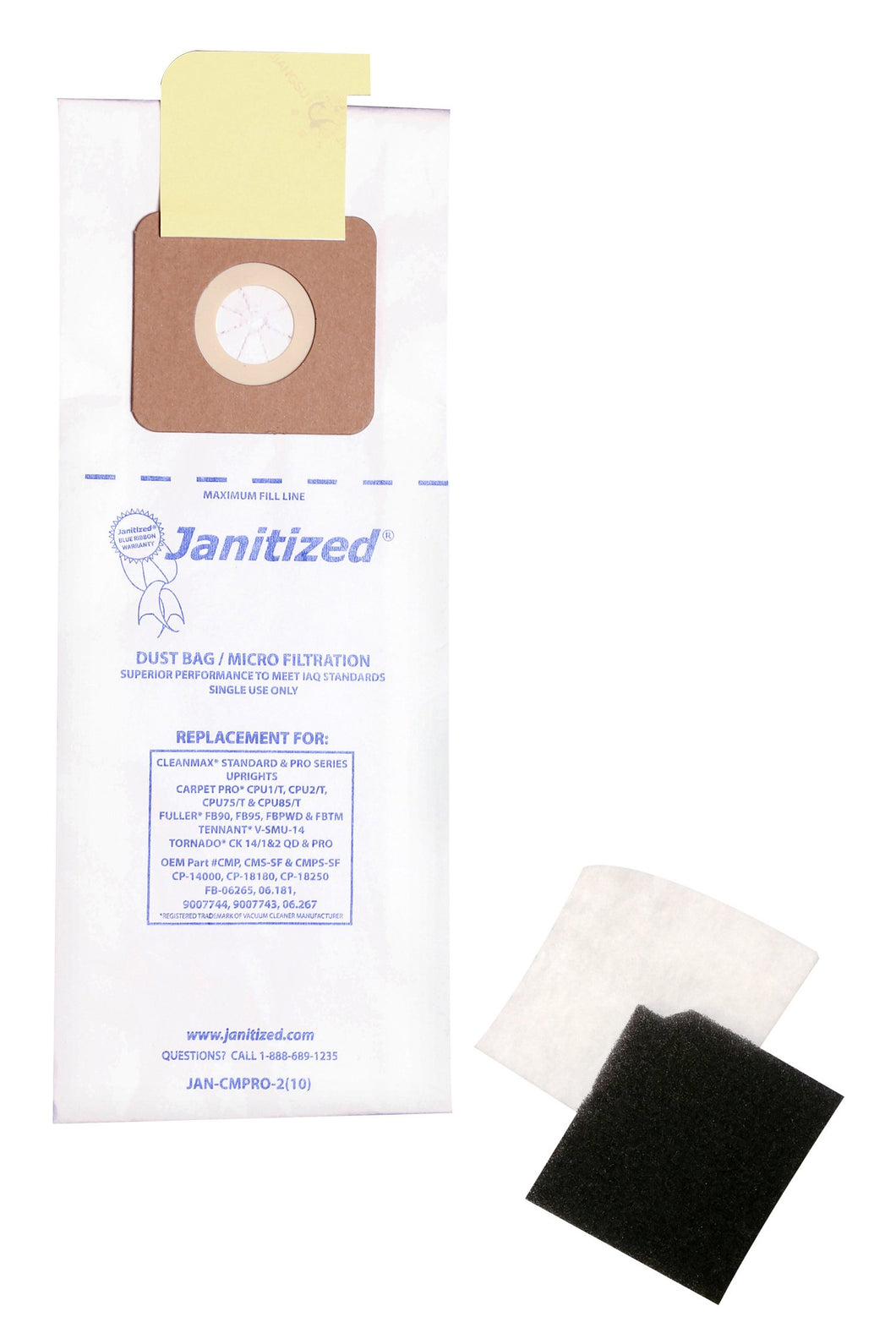 Janitized JAN-CMPRO-2(10) Paper Premium Replacement Commercial Vacuum Bag for CleanMax Standard & Pro, Tennant V-SMU-14, Tornado CK QD & Pro, CarpetPro CPU & Fuller FB-06265 Vacuum Cleaners(10 - 10 packs)