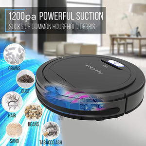 PureClean Automatic Robot Vacuum Cleaner - Robotic Auto Home Cleaning for Clean Carpet Hardwood Floor - Bot Self Detects Stairs - Allergy Friendly Pet Hair Vac - PUCRC26B