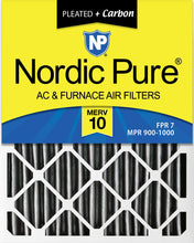 Load image into Gallery viewer, Nordic Pure 16x25x4 (3-5/8 Actual Depth) Plus AC Furnace Air Filters, 6 PACK, MERV 10 Pleated + Carbon, 6 Piece