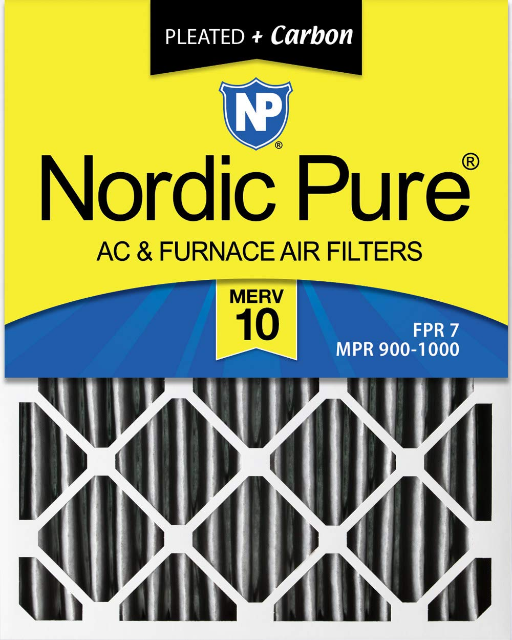 Nordic Pure 16x25x4 (3-5/8 Actual Depth) Plus AC Furnace Air Filters, 6 PACK, MERV 10 Pleated + Carbon, 6 Piece
