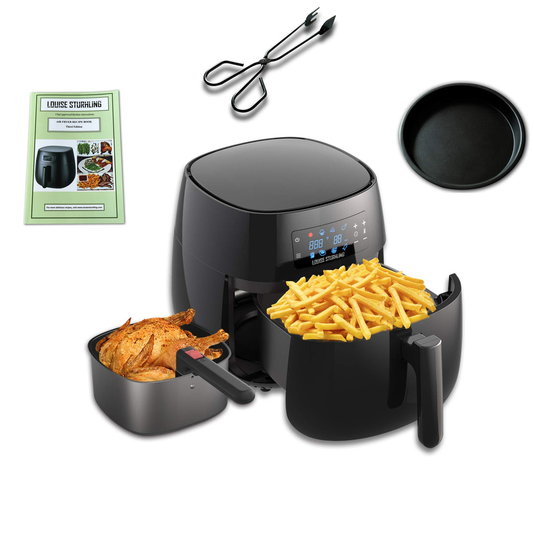 LOUISE STURHLING All-Natural Healthy Ceramic Coated 4.0L Air Fryer. BPA-FREE, PFOS & PFOA-FREE, 7-in-1 Pre-programmed One-touch Settings, Exclusive BONUS Items - FREE COOKBOOK, TONGS & PIZZA PAN