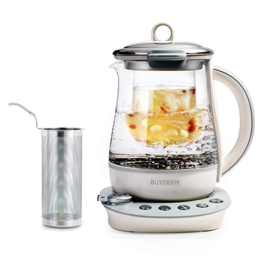 Buydeem K2683 Health-Care Beverage Tea Maker and Kettle, 9-in-1 Programmable Brew Cooker Master, 1.5 L, Gray